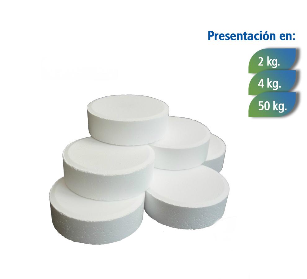 Pequeñas pastillas de cloro sólido